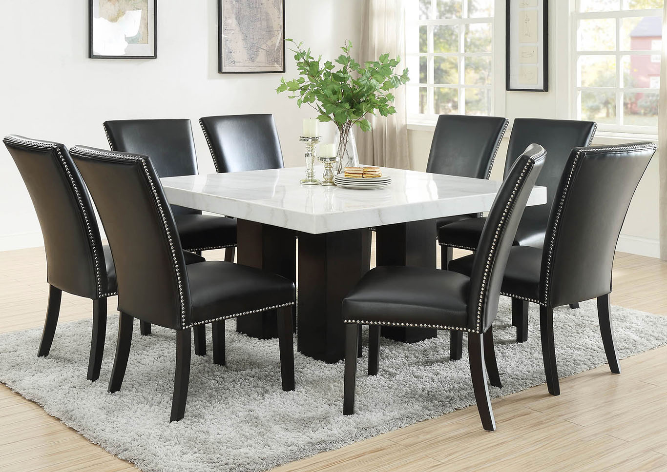 Camila Brown Square Marble Top Dining Set W 8 Chairs Black Pu Ivan Smith