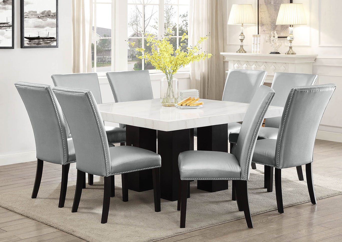 Picture of: Camila Brown Square Marble Top Dining Set W 8 Chairs Silver Pu Ivan Smith