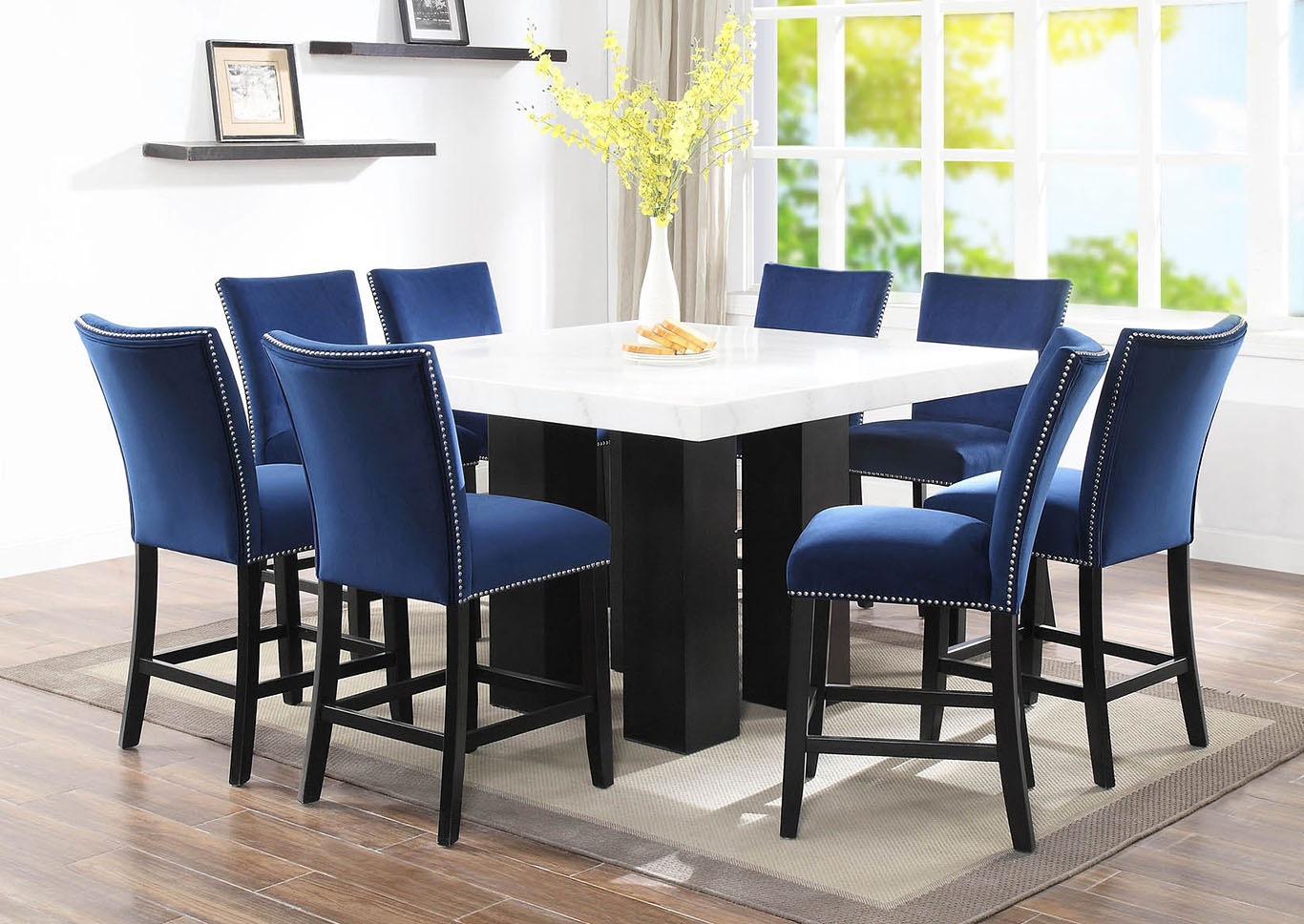 Camila Brown White Square Marble Top Dining Set W 8 Chairs Blue Velvet 5th Avenue Furniture Mi