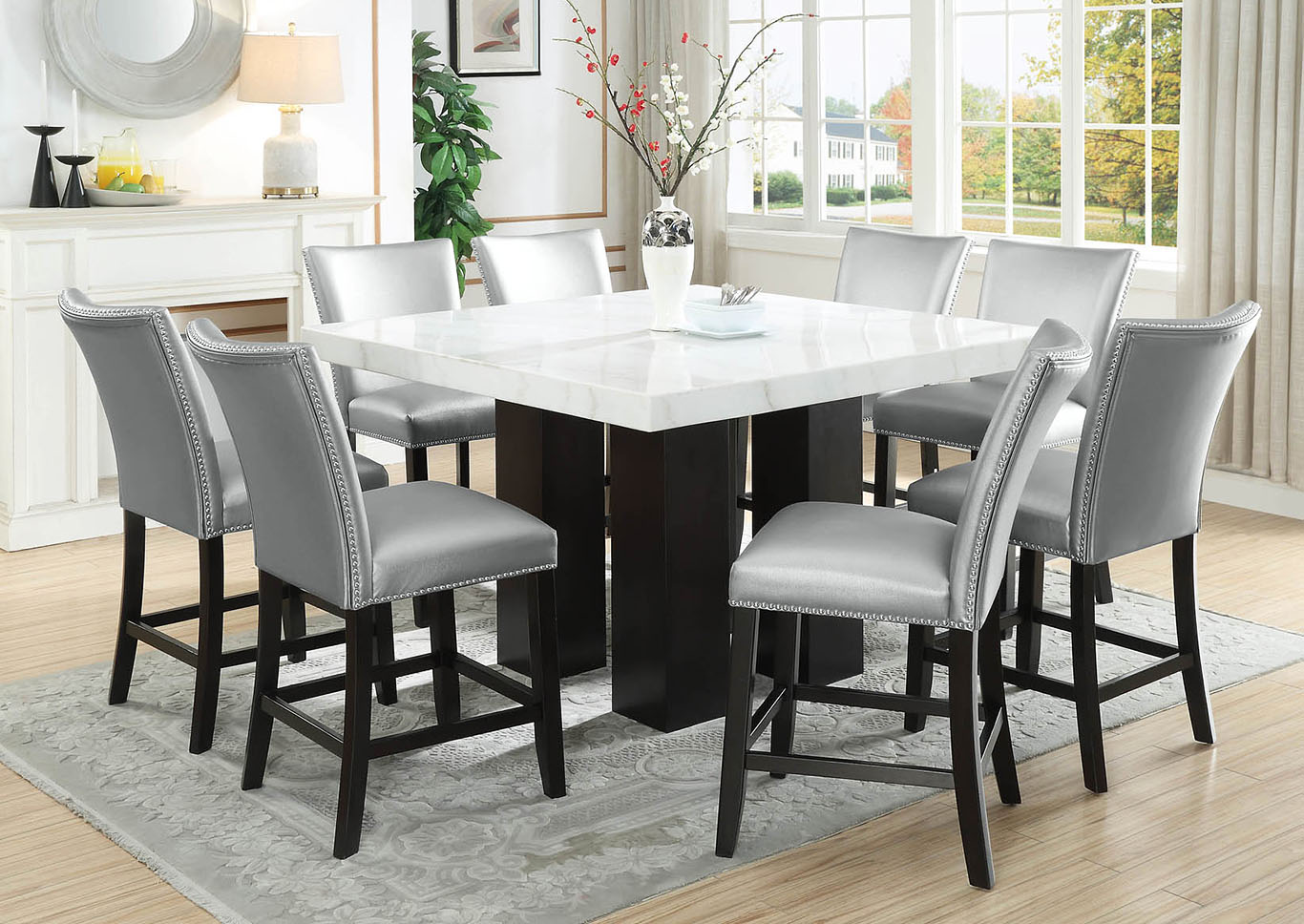 Camila Brown Square Counter Marble Top Dining Set W 8 Chairs Silver Pu Ivan Smith Furniture