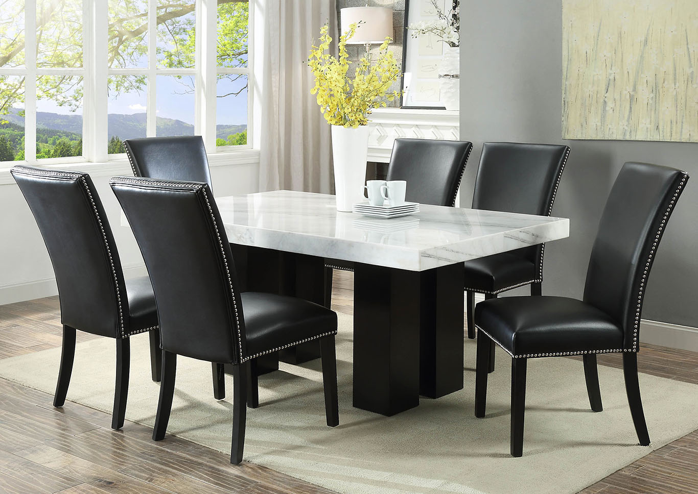 Camila Brown Rectangular Marble Top Dining Set W/ 9 Chairs [Black ...