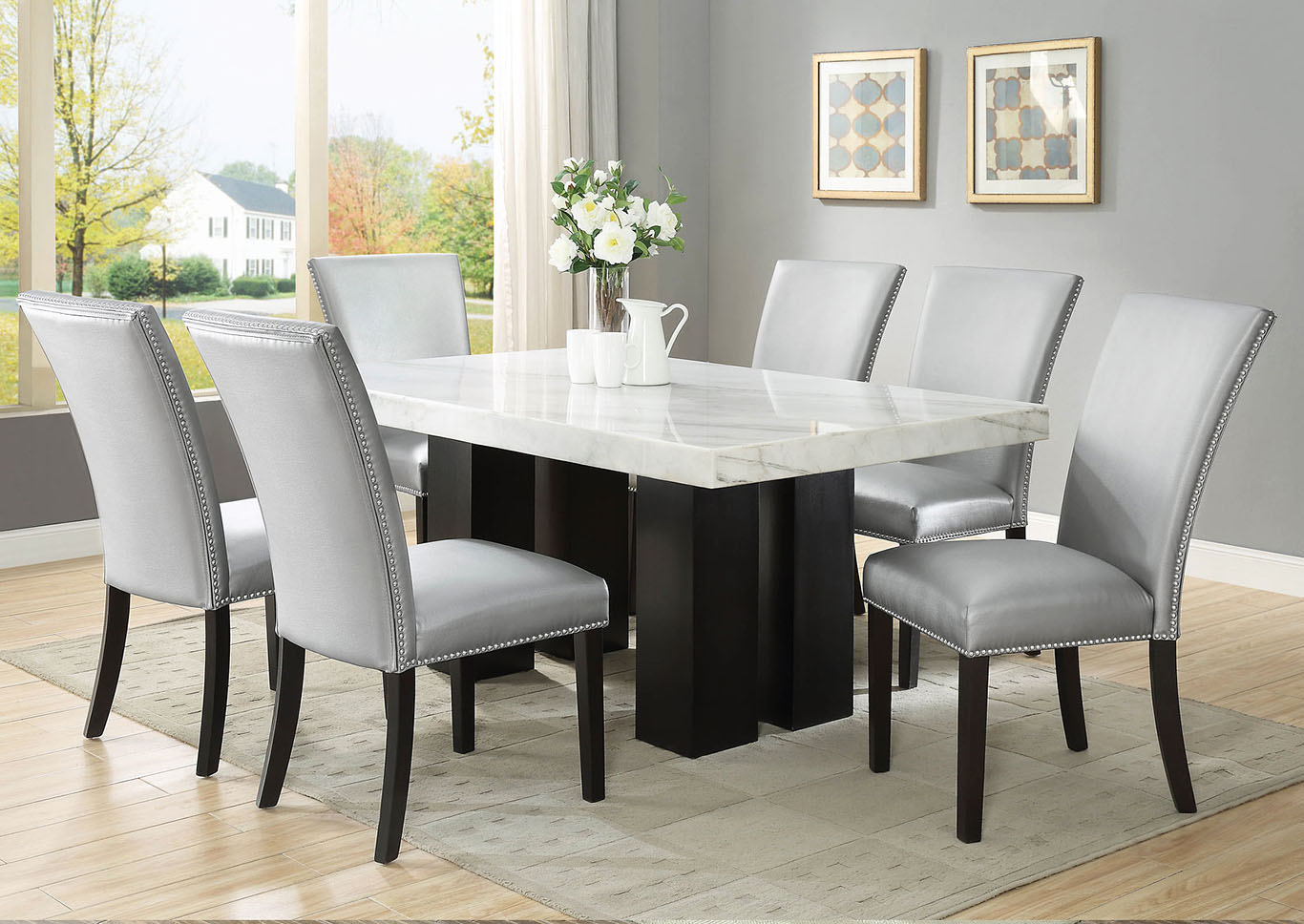 Camila Brown Rectangular Marble Top Dining Set W 6 Chairs Silver Pu Ivan Smith