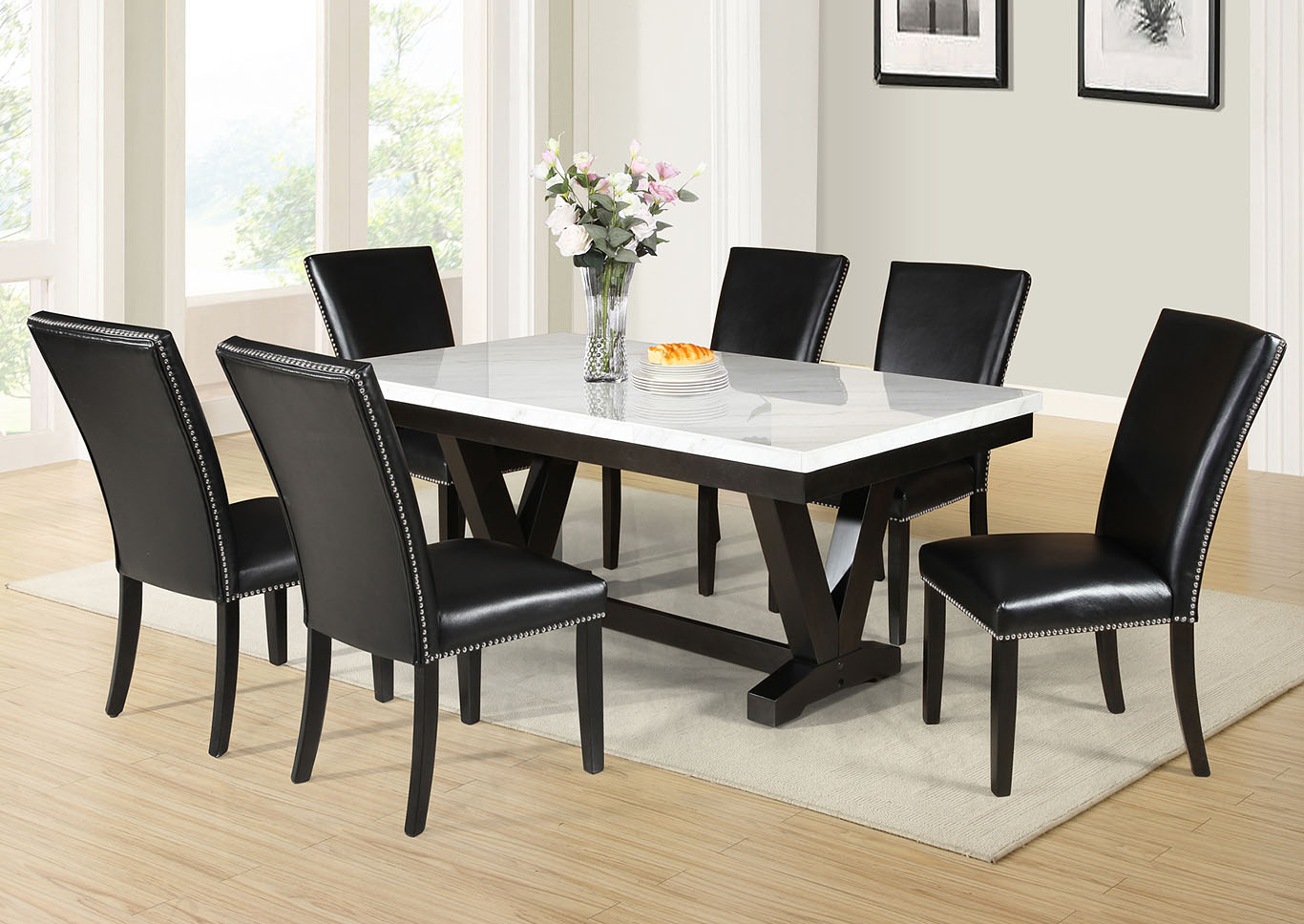 Finley Black Rectangular Dining Set W 6 Chairs Maverick Wholesale Furniture