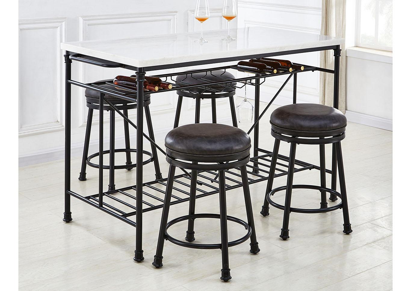 Claire White Black Marble Top Counter Kitchen Island Maverick Wholesale Furniture