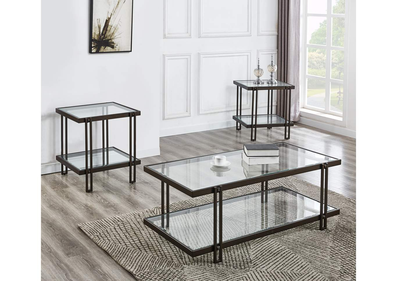 Picture of: Alley Black Glass Top Cocktail Table W 2 End Tables Ivan Smith