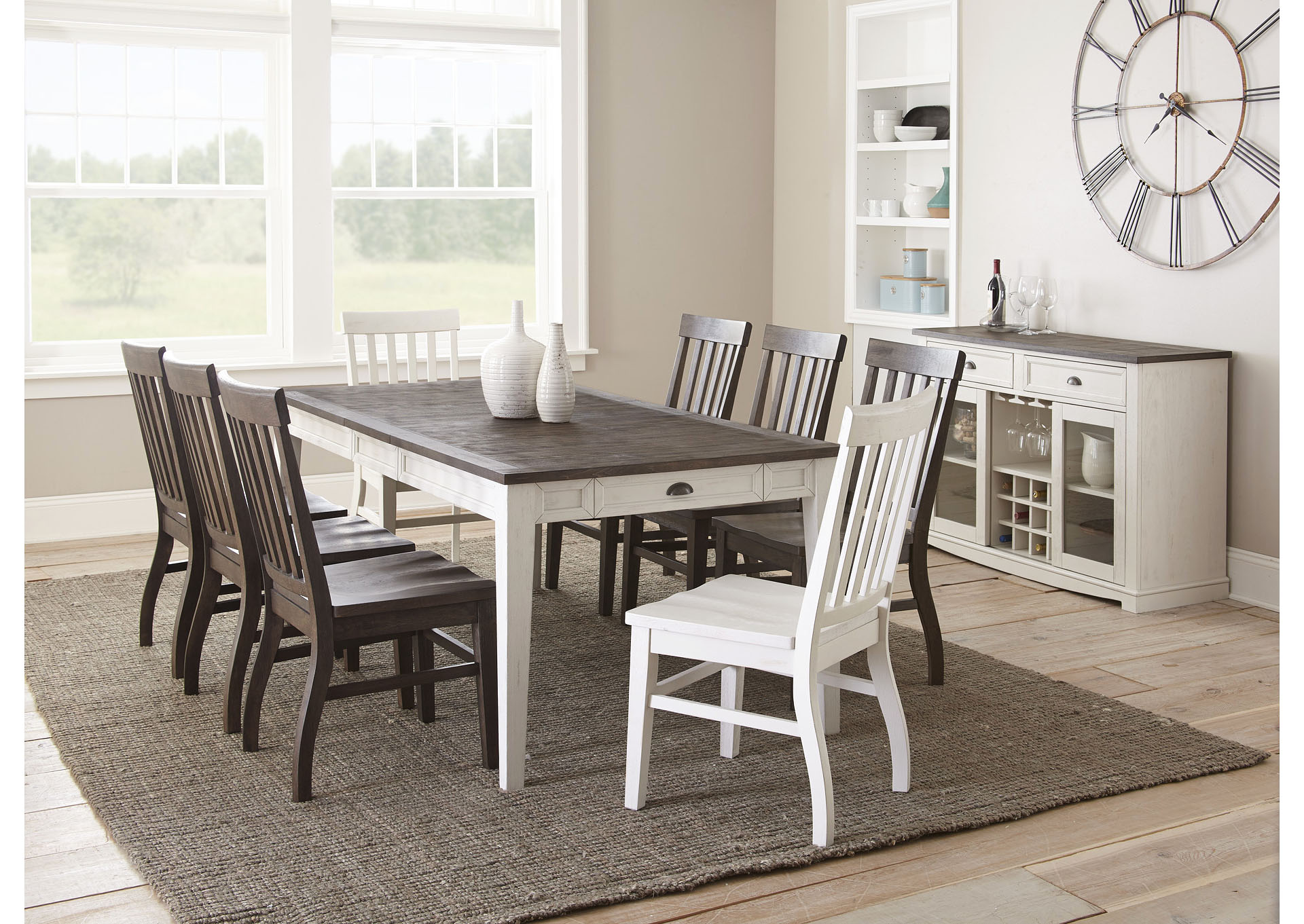 Cayla Two Tone Rectangular Dining Set W, White Dining Room Table Seats 8