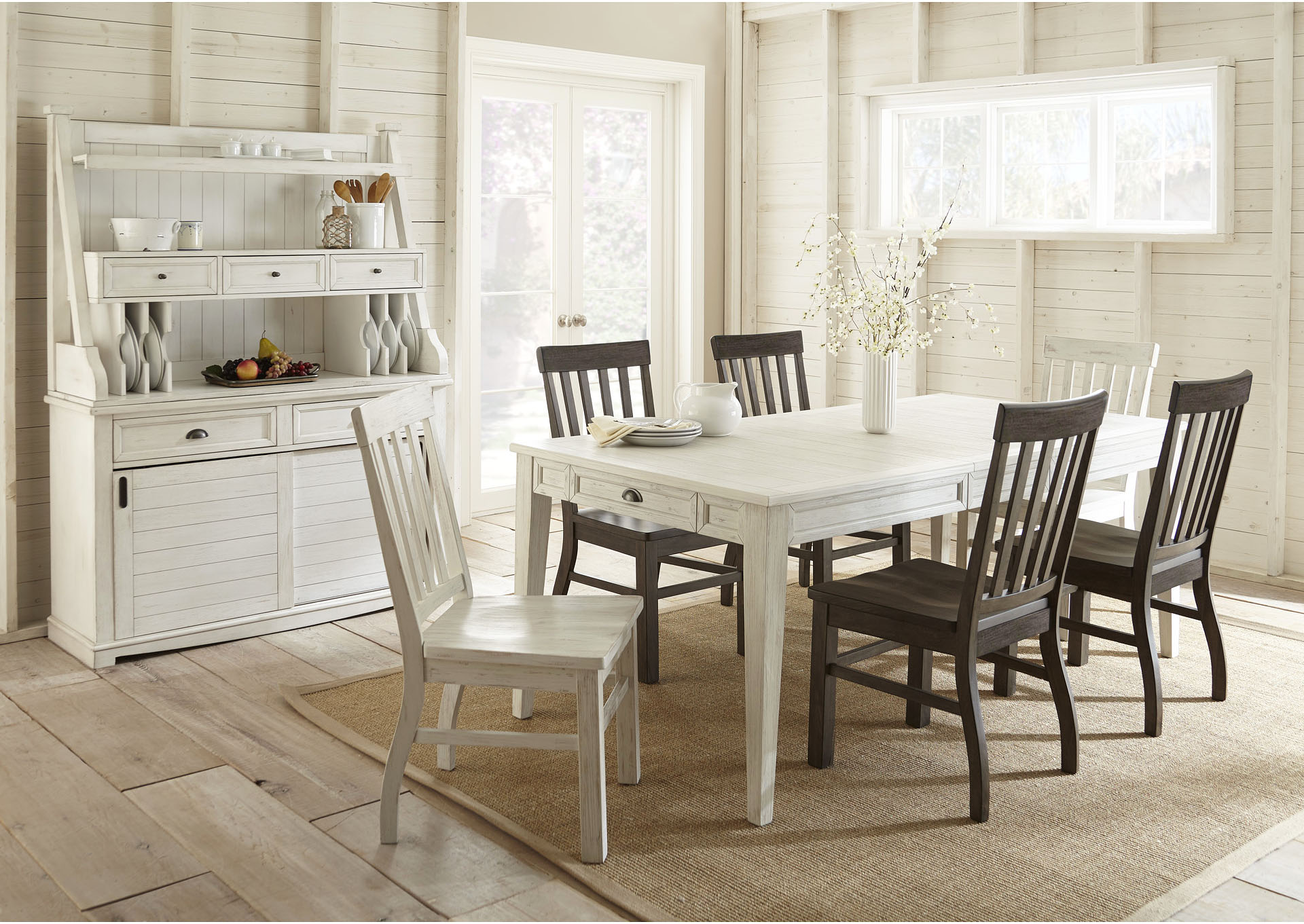 Cayla Two Tone Rectangular Dining Set W, White Dining Room Table And Hutch
