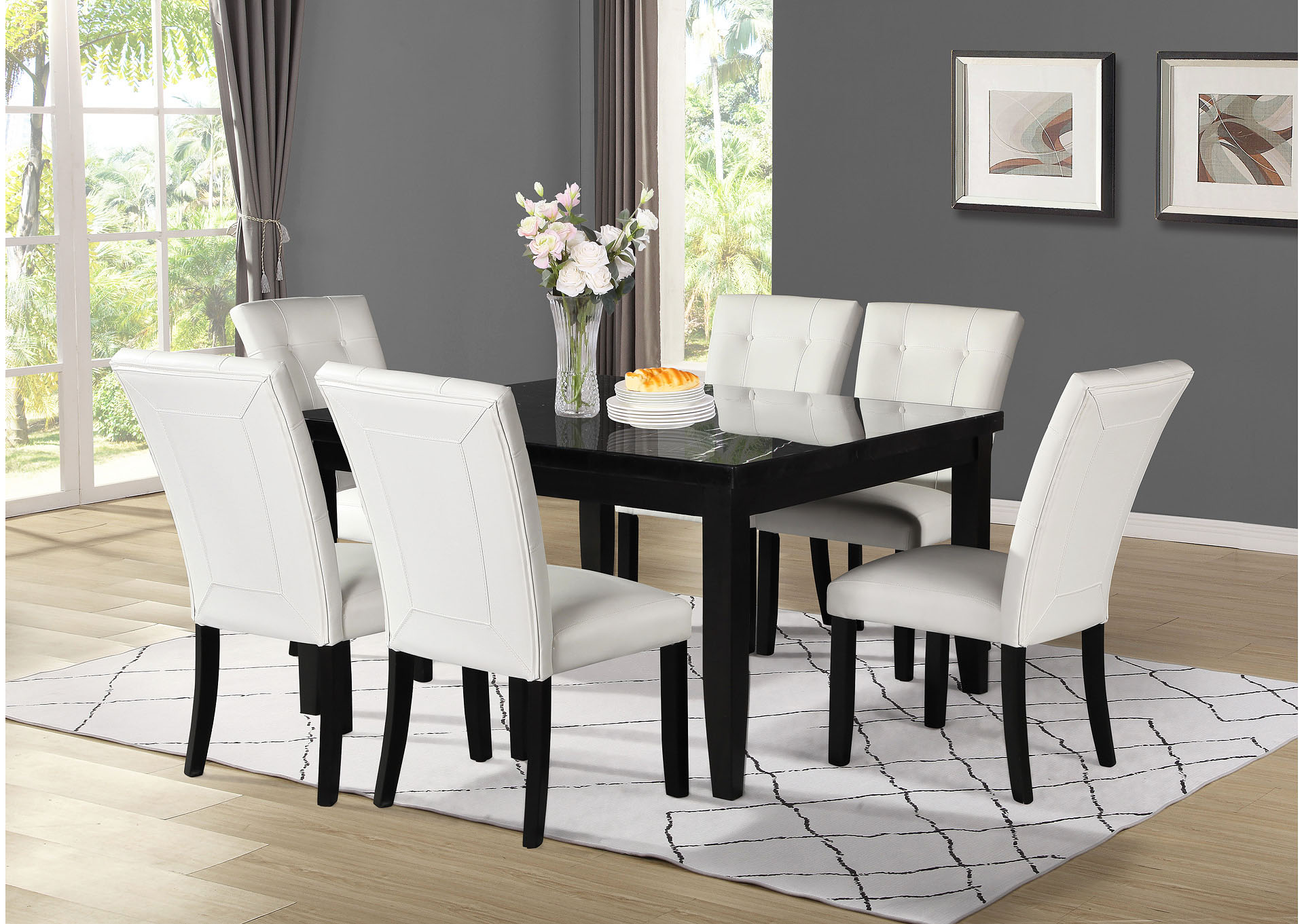 Markina Black Square Marble Top Dining Set W 6 Chairs White Ivan Smith