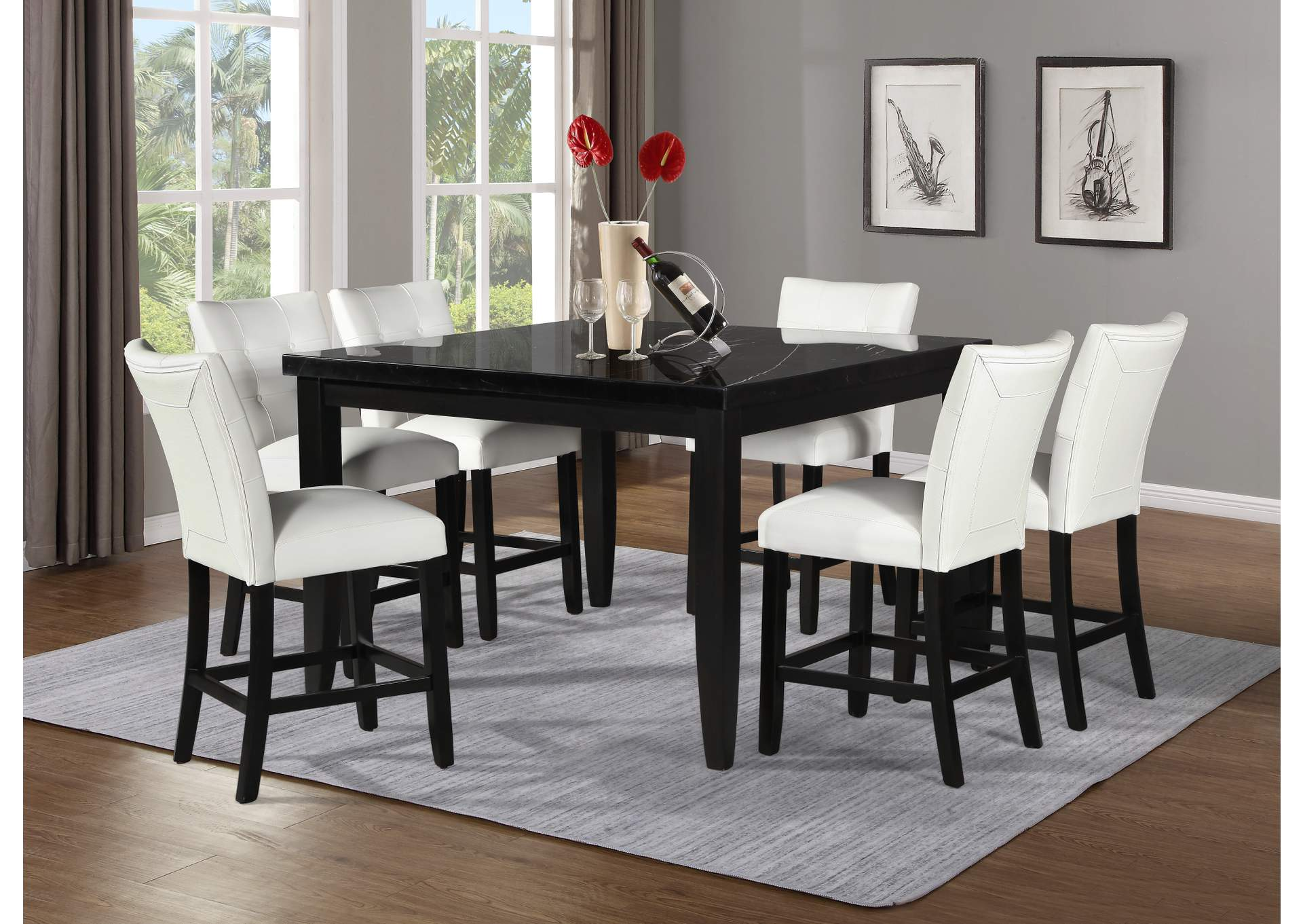 Markina Black Square Marble Top Counter Dining Set W 6 Chairs White Ivan Smith