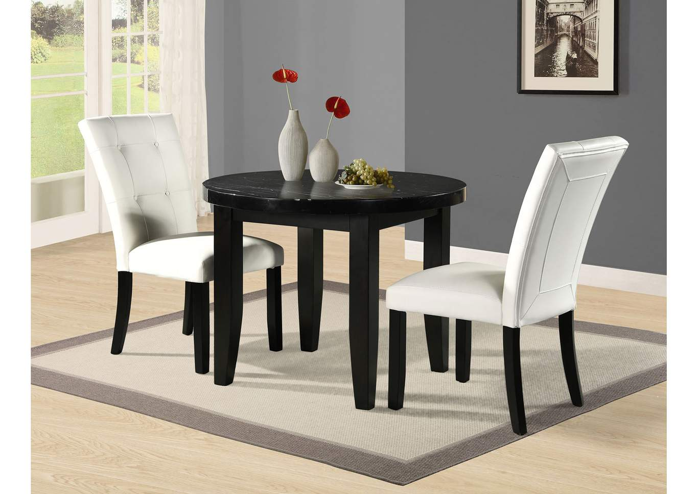 Markina Black Round Marble Top Dining Table,Steve Silver