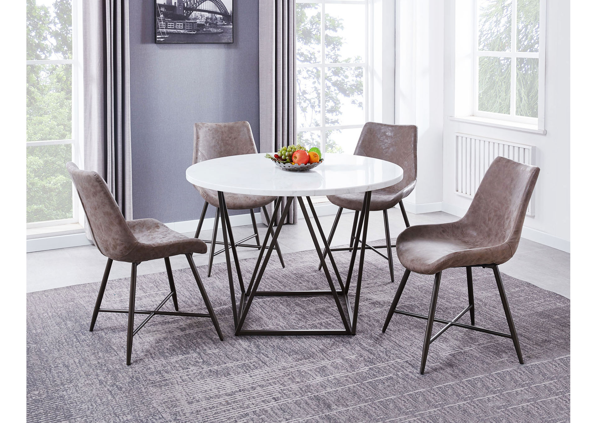 Ramona White Round Marble Top Dining Set W 4 Chairs Ivan Smith