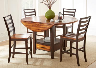 Abaco Brown Round Counter Dining Set W/ 4 Chairs