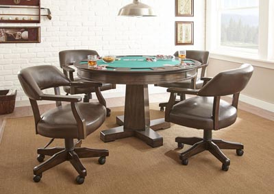 Image for Ruby Brown Round Game Table W/ 4 Chairs