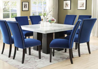 Camila Brown Square Marble Top Dining Set W/ 8 Chairs [Blue Velvet],Steve Silver
