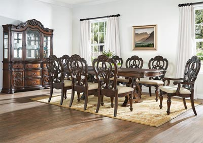 Image for Royale Pecan Brown Formal Dining Set W/ 2 Arm & 6 Side Chairs, Buffet & Hutch