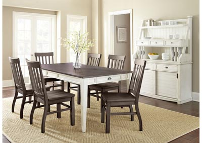 Image for Cayla Two Tone Rectangular Dining Set W/ 6 Chairs [Brown], Buffet & Hutch
