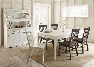 Image for Cayla Two Tone Rectangular Dining Set W/ 6 Chairs [2 White] [4 Brown], Buffet & Hutch
