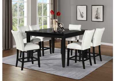 Markina Black Square Marble Top Counter, Black Dining Table Chairs Set Of 6