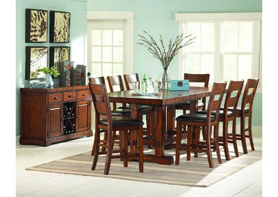Image for Zappa Cherry Rectangular Counter Dining Set W/ 8 Chairs & Server