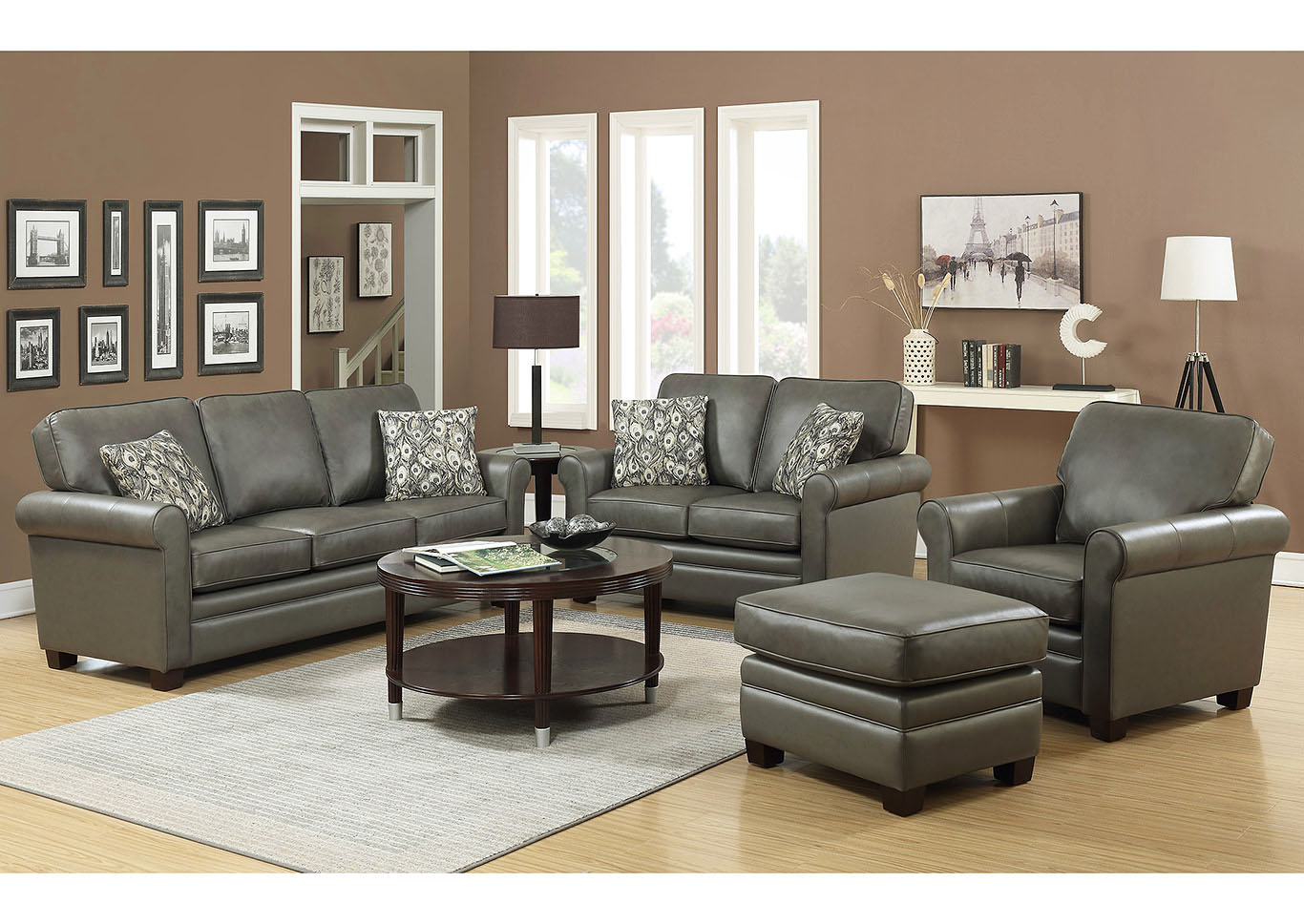 April Gray Leather Match Stationary 4, Gray Living Room Sets