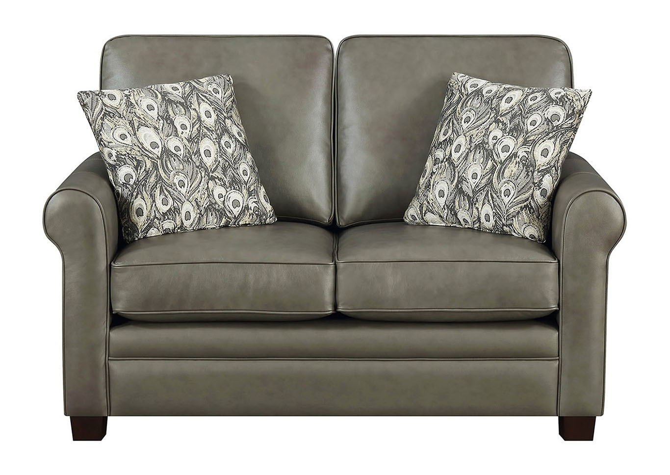 Picture of: April Gray Leather Match Stationary Loveseat Best Buy Furniture And Mattress