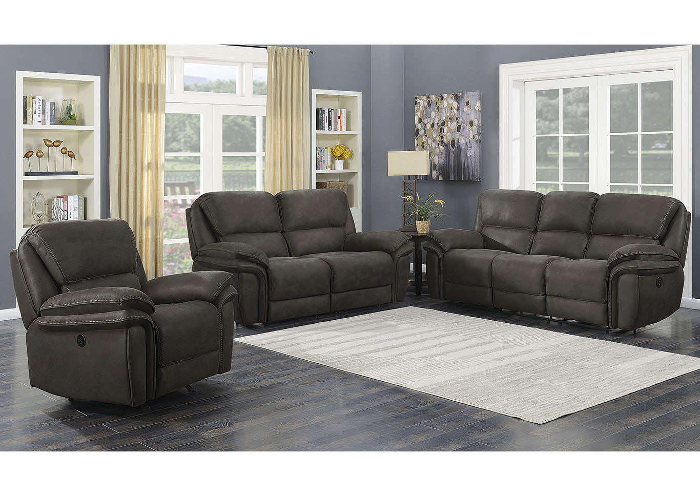 Cindy Gray Power Motion 3 Piece, 3 Piece Living Room Sets