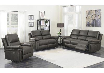 Julia Dark Gray Power Motion Recliner, 3 Piece Living Room Set
