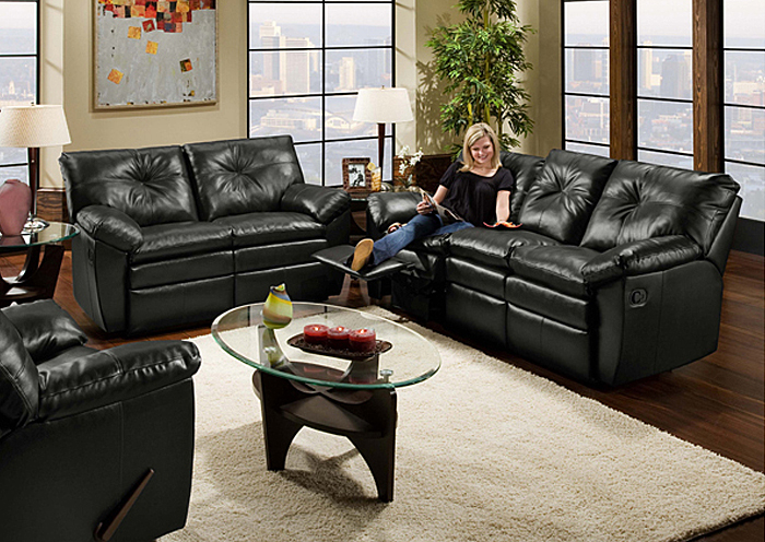 BLACK BONDED LEATHER DOUBLE MOTION SOFA,United Furniture