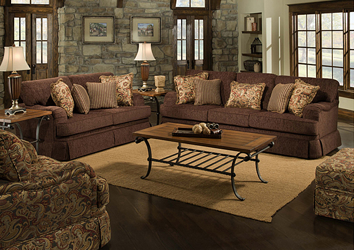 MUSE CHOCOLATE / OXSANA CRANBERRY/GIGI CRANBERRY SOFA,United Furniture