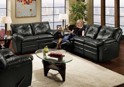 BLACK BONDED LEATHER DOUBLE MOTION SOFA
