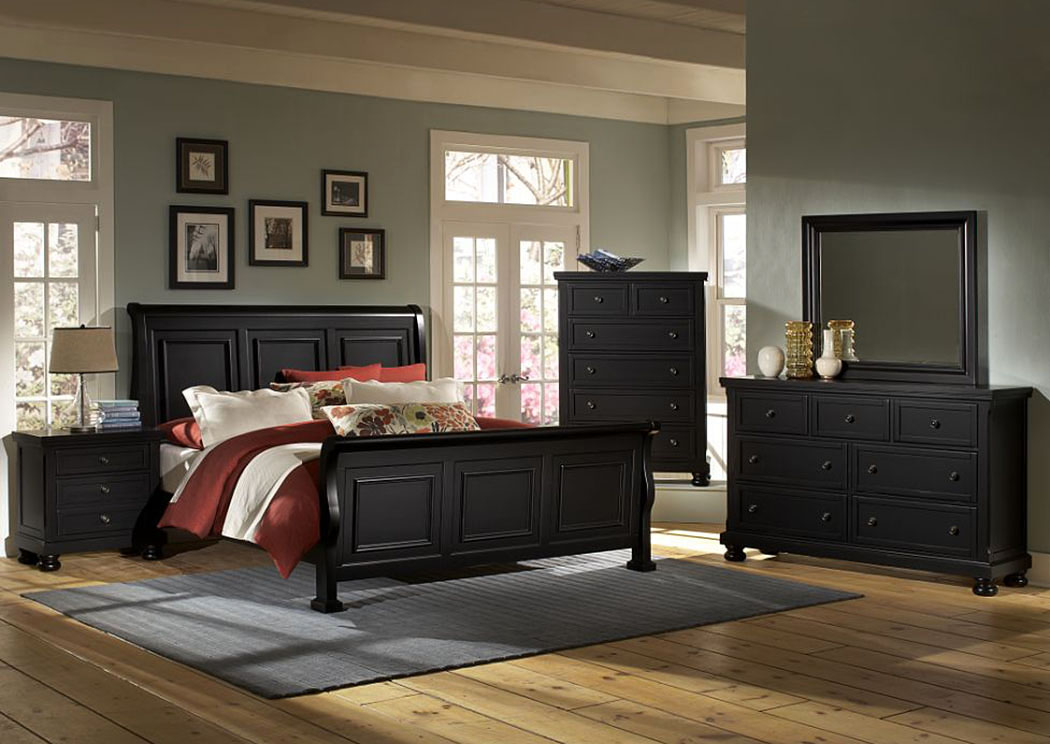 Reflections Ebony Queen Sleigh Bed,Vaughan-Bassett
