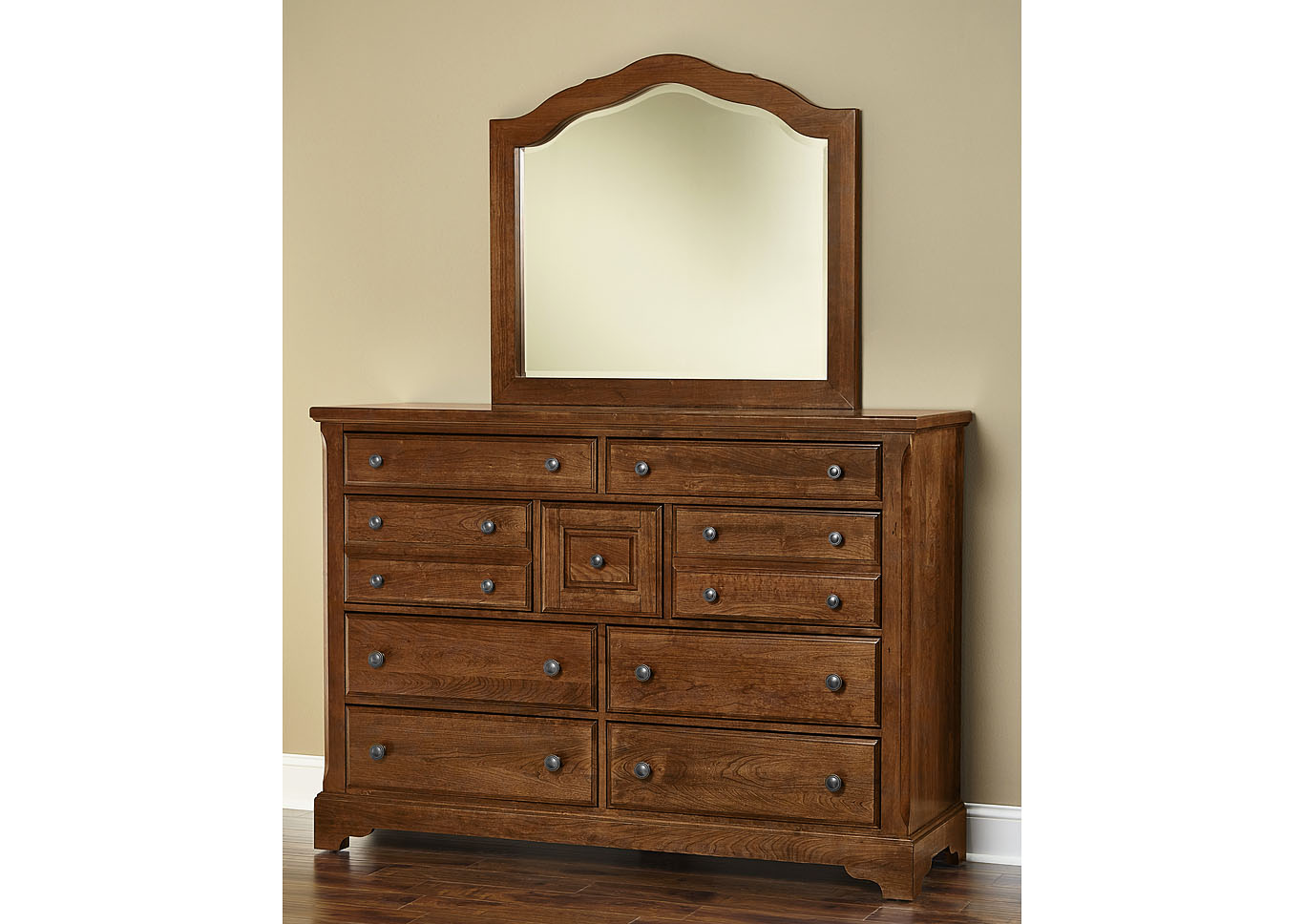 100 - Artisan Choices Amish Cherry Villa Triple Dresser - 9 Drawer,Vaughan-Bassett