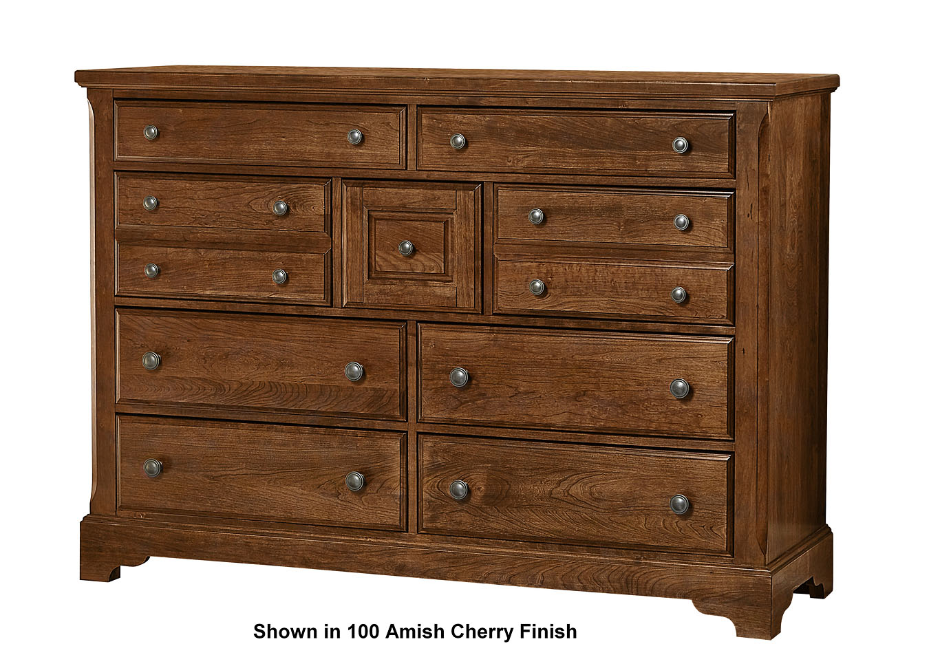 104 - Artisan Choices Dark Cherry Villa Triple Dresser - 9 Drawer,Vaughan-Bassett