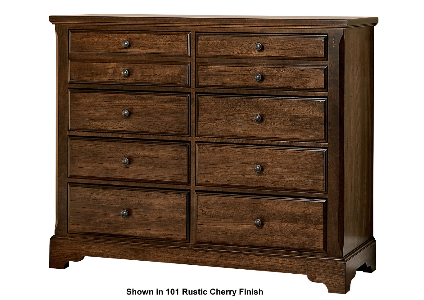 104 - Artisan Choices Dark Cherry Villa Media Dresser - 8 Drawer,Vaughan-Bassett