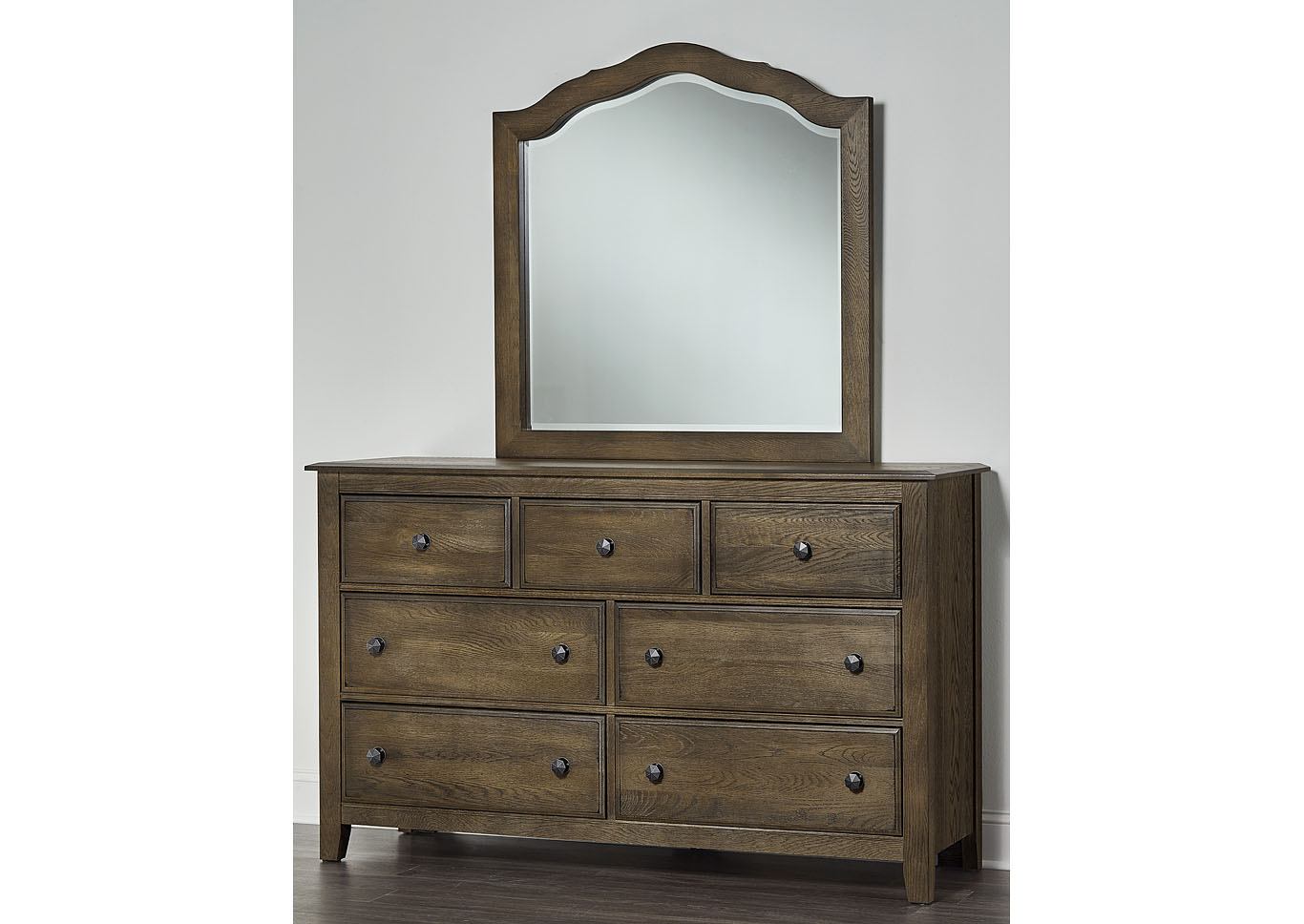 106 - Artisan Choices Dark Oak Loft Triple Dresser - 7 Drawer,Vaughan-Bassett