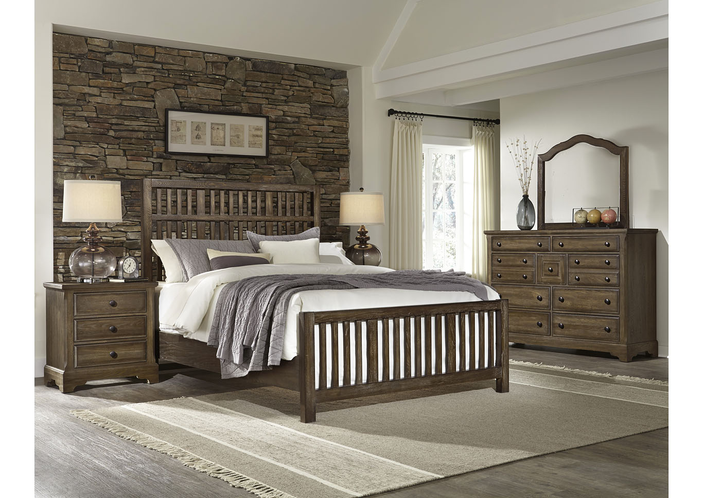 106 - Artisan Choices Dark Oak Villa Triple Dresser - 9 Drawer,Vaughan-Bassett