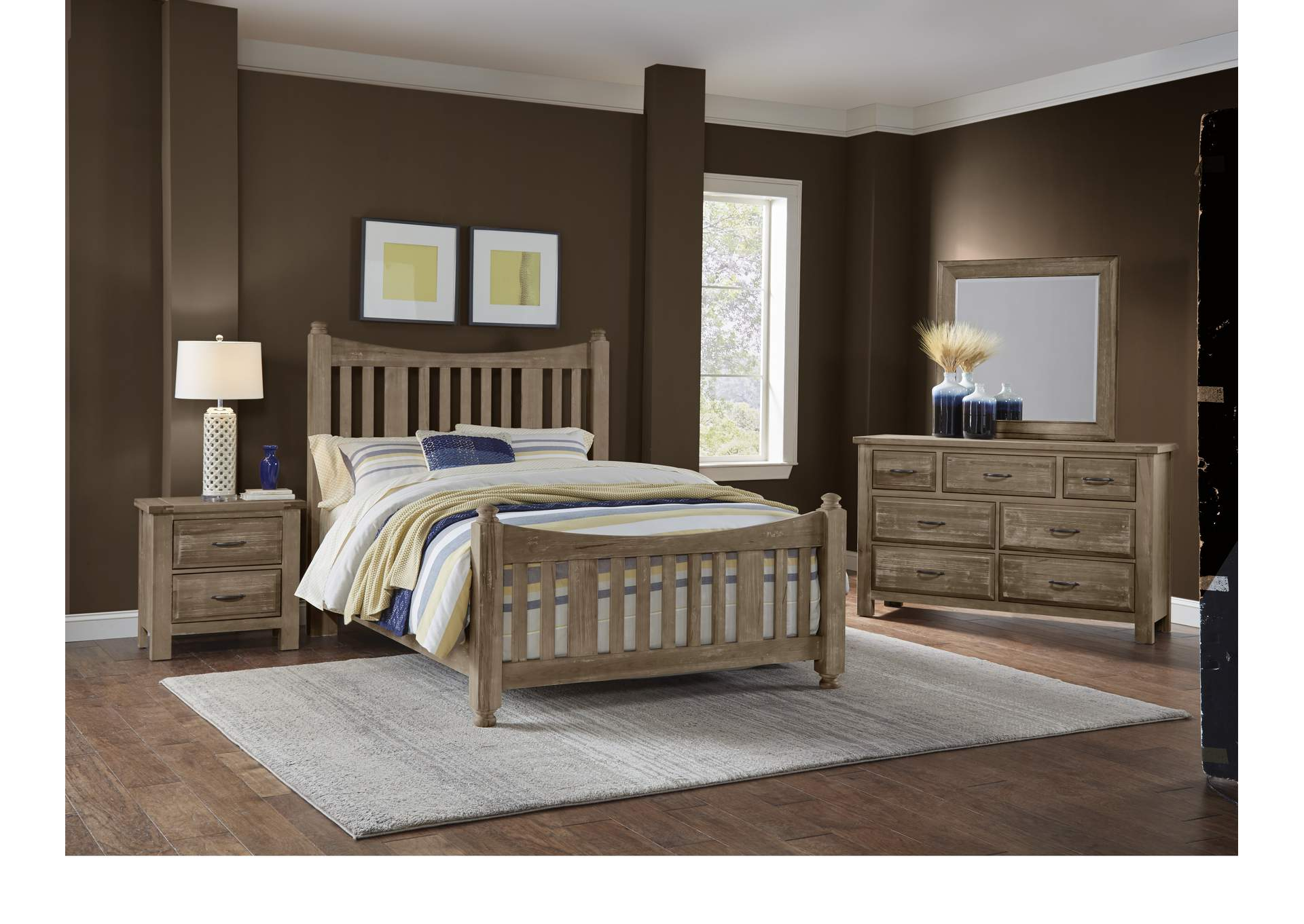 115 - Maple Road Weathered Gray Triple Dresser - 7 Drawer,Vaughan-Bassett