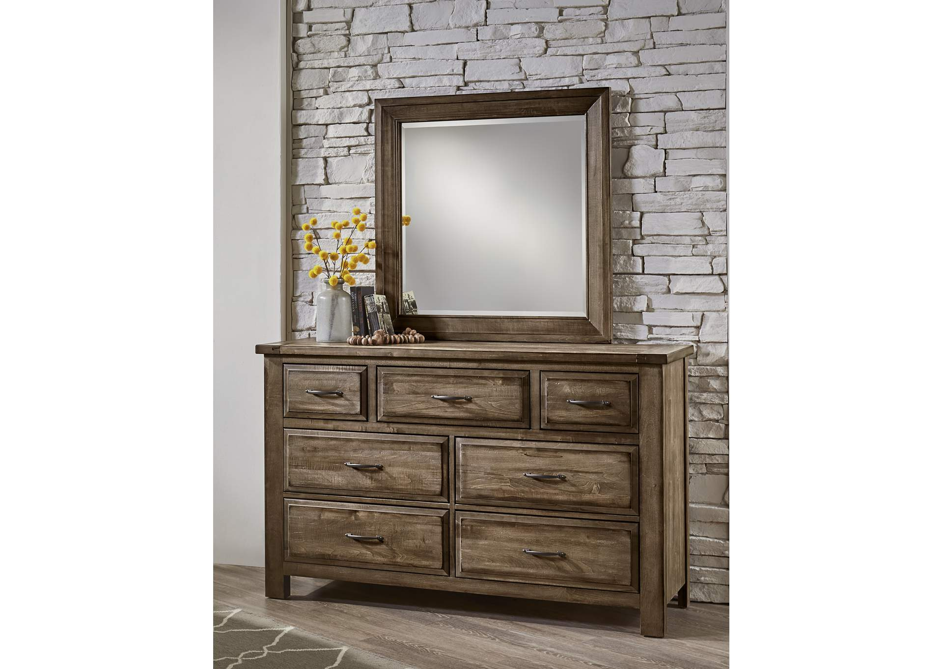 Maple Road Tobacco Brown Triple Dresser - 7 Drawer w/Landscape Mirror,Vaughan-Bassett