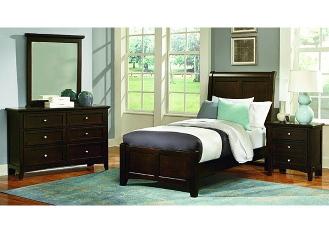 Bonanza Merlot Full Sleigh Bed w/Dresser and Mirror,Vaughan-Bassett