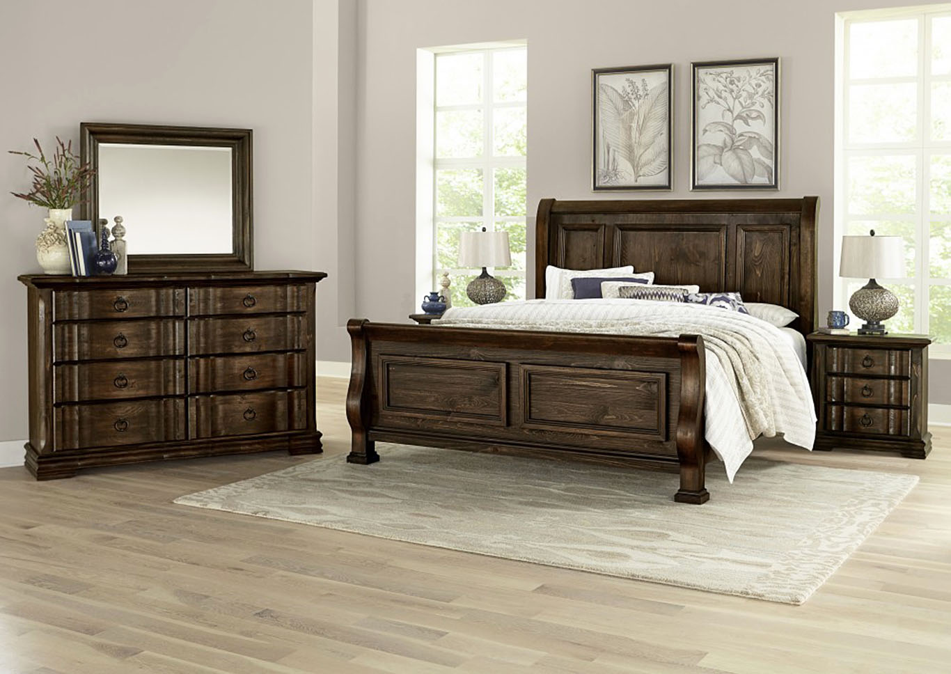 Rustic Hills Coffee Queen Sleigh Bed,Vaughan-Bassett