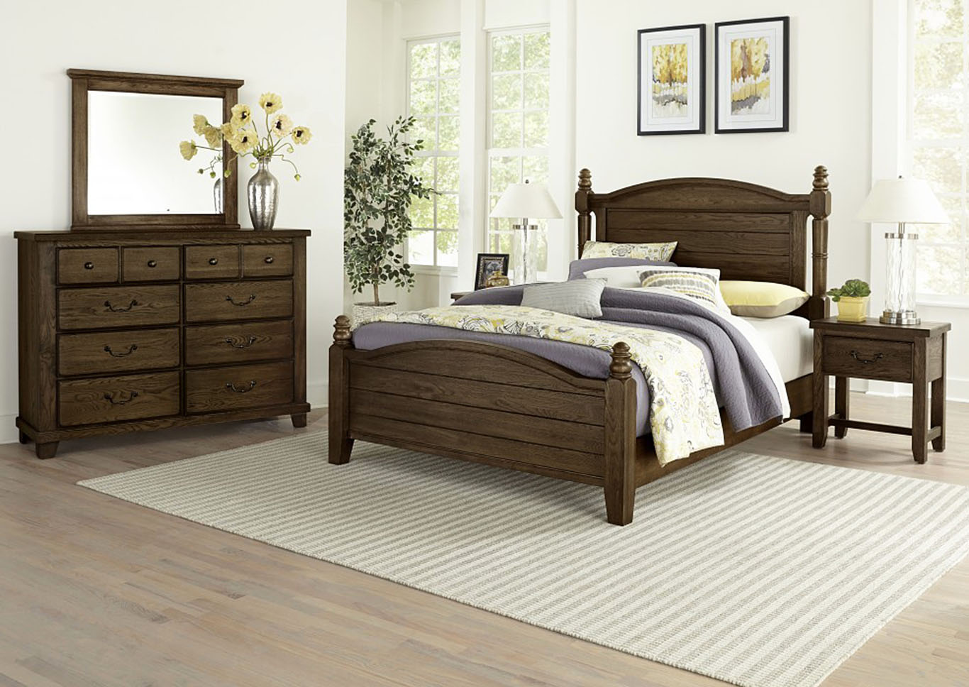American Molasses Oak Queen Poster Bed,Vaughan-Bassett