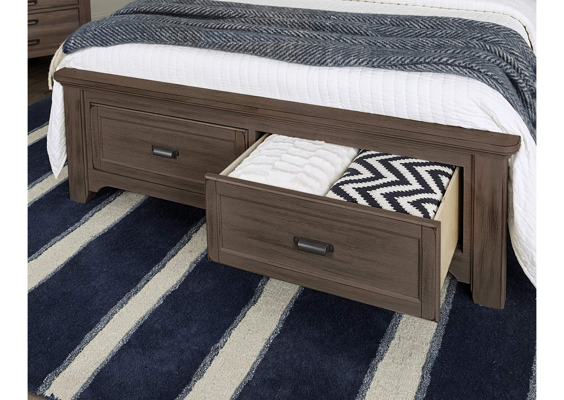740 - Bungalow Folkstone Full Upholstered Storage Bed,Vaughan-Bassett