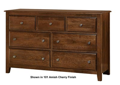 Artisan Choices Brown Derby Loft Triple Dresser - 7 Drawer w/Landscape Mirror,Vaughan-Bassett