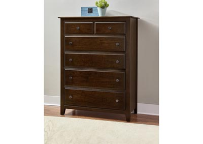 104 - Artisan Choices Dark Cherry Loft Chest - 5 Drawer,Vaughan-Bassett