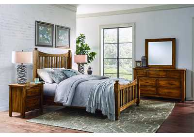 Maple Road Sleigh Headboard & Storage Footboard 5/0 w/Dresser and Mirror,Vaughan-Bassett
