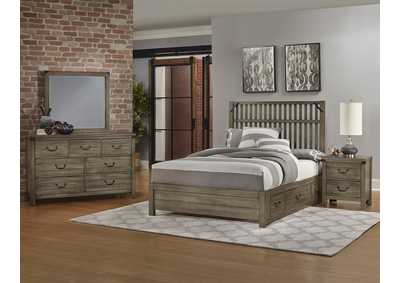 Sedgwick Slat Headboard & Storage & Low Profile Footboard 6/6 w/Dresser and Mirror,Vaughan-Bassett