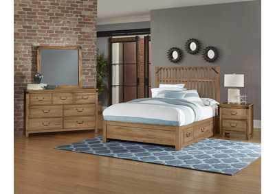 Sedgwick Slat Headboard & Storage & Low Profile Footboard 5/0 w/Dresser and Mirror,Vaughan-Bassett