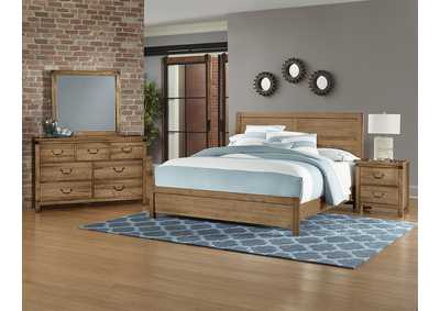 Sedgwick Plank Headboard & Low Profile Footboard 6/6 w/Dresser and Mirror,Vaughan-Bassett