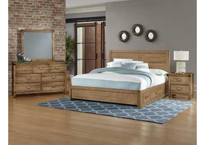 Sedgwick Plank Headboard & Storage & Low Profile Footboard 6/6 w/Dresser and Mirror,Vaughan-Bassett