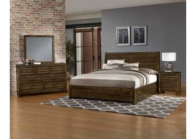 Sedgwick Plank Headboard & Storage & Low Profile Footboard 5/0 w/Dresser and Mirror,Vaughan-Bassett